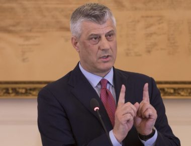 epa05837072 President of the Republic of Kosovo Hashim Thaci gestures during a press conference at his cabinet in Pristina, Kosovo 08 March 2017. Hashim Thaci backed up his decision he took on 07 March 2017 to submit to the Parliament the draft law on transforming the Kosovo Security Forces (KSF) into an Army. NATO Secretary General Jens Stoltenberg has released a statement saying that on 08 March 2017 he has spoken to Hashim Thaci to convey the serious concerns of NATO Allies about recent proposals by the Kosovo authorities to transform the Kosovo Security Force (KSF) into an armed force, without a constitutional change. However, should the mandate of the KSF now evolve in the way proposed, NATO will have to review its level of commitment, particularly in terms of capacity-building he said in the statement.  EPA/VALDRIN XHEMAJ
