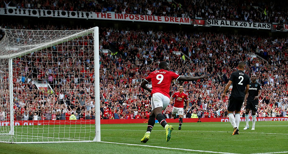 """Football Soccer - Premier League - Manchester United vs West Ham United - Manchester, Britain - August 13, 2017   Manchester United's Romelu Lukaku celebrates scoring their first goal    REUTERS/Andrew Yates  EDITORIAL USE ONLY. No use with unauthorized audio, video, data, fixture lists, club/league logos or """"live"""" services. Online in-match use limited to 45 images, no video emulation. No use in betting, games or single club/league/player publications. Please contact your account representative for further details."""