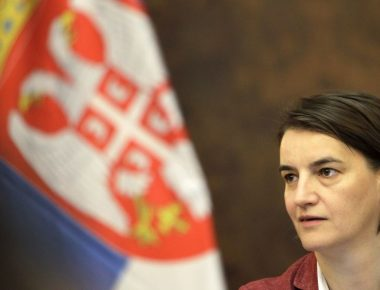 epa06057216 New Serbian Prime Minister Ana Brnabic during the Serbian cabinet meeting in Belgrade, Serbia, 30 Jun 2017. Brnabic is the first woman and openly gay person leading the Serbian government.  EPA/ANDREJ CUKIC