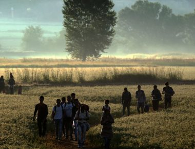 (FILES) This file photo taken on August 29, 2015 shows migrants walking through a field to cross the border from Greece to Macedonia near the Greek village of Idomeni. A year ago, the tragic death of a three-year-old Syrian boy shocked Europe as an unprecedented crisis saw hundreds of thousands of migrants and refugees arrive on the continent. Aylan is one of some 3,700 people who die trying to reach Europe in 2015, including his mother and his brother, according to the International Organization for Migration (IOM). In the first eight months of 2016 alone, another 3,165 die or go missing at sea -- a sharp rise from 2,656 people in the same period last year. / AFP PHOTO / ARIS MESSINIS