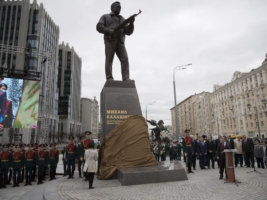 A new monument to Russian firearm designer Mikhail Kalashnikov is unveiled during an official ceremony in Moscow, Russia, Tuesday, Sept. 19, 2017. Kalashnikov, who died in 2013 at age 94 in the city of Izhevsk, has received accolades as the creator of the AK-47 assault rifle. By some estimates, the AK-47 and its versions account for about one-fifth of the world's firearms. (AP Photo/Pavel Golovkin)