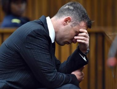 epa05361045 South African Paralympian Oscar Pistorius sits in the dock for his sentencing hearing at the high court in Pretoria, South Africa, 13 June 2016. The Supreme Court of South Africa overturned the High Court's verdict in December 2015, where Oscar Pistorius now faces sentencing for murder of his girlfriend Reeva Steenkamp on 13 February 2013.  EPA/PHILL MAGAKOE / POOL