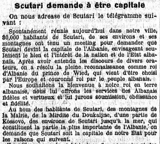 Le temps 1914  Shkodra kërkon të bëhet kryeqytet  Telegrami i shkodranëve drejtuar princ Vidit