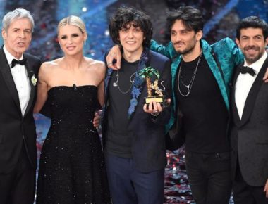Italian singers Ermal Meta (C) and Fabrizio Moro (2-R) celebrate on stage after winning the 68th Sanremo Italian Song Festival in Sanremo, Italian singer and Sanremo Festival artistic director Claudio Baglioni (L), Swiss-Italian TV showgirl Michelle Hunziker, Italian actor Pierfrancesco Favino (R) on stage during the 68th Sanremo Italian Song Festival at the Ariston theatre in Sanremo, Italy, 10 February 2018. The 68th edition of the television song contest runs from 06 to 10 February.   ANSA/CLAUDIO ONORATI