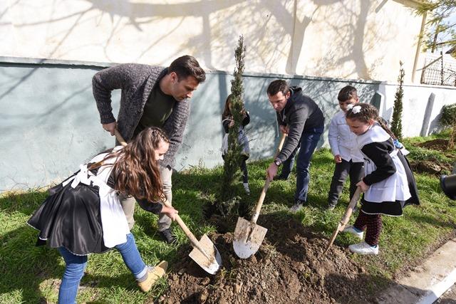 Veliaj dhe Cana mbjellin peme ne shkollen Kol Jakova  (1)