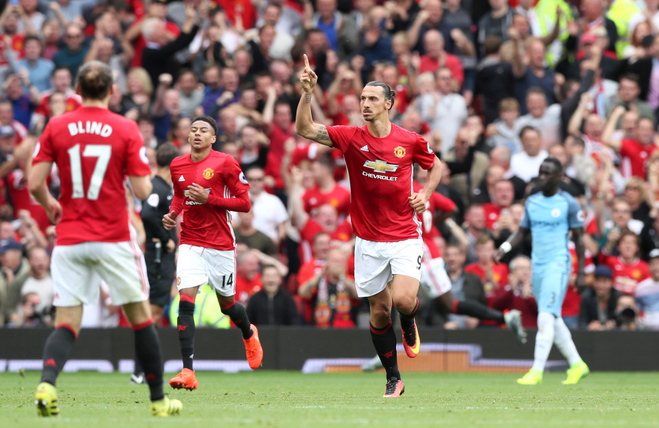 Manchester United's Zlatan Ibrahimovic celebrates scoring his side's first goal of the game during the Premier League match at Old Trafford, Manchester. PRESS ASSOCIATION Photo. Picture date: Saturday September 10, 2016. See PA story SOCCER Man Utd. Photo credit should read: Martin Rickett/PA Wire. RESTRICTIONS: Editorial use only. Maximum 45 images during a match. No video emulation or promotion as 'live'. No use in games, competitions, merchandise, betting or single club/player services. No use with unofficial audio, video, data, fixtures or club/league logos.