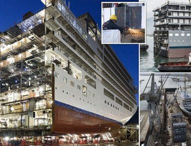 **VIDEOS AVAILABLE. CONTACT INFO@COVER-IMAGES.COM TO RECEIVE.** Why have one luxury liner, when you have two! A great spectacle of naval engineering, Silverseaís Silver Spirit has now been cut in two at Fincantieri Shipyard in Palermo as part of her planned lengthening project. A prebuilt 15-metre (49-feet) segment has been inserted and the ship is now being reconnected. With the aim of amplifying guestsí onboard experience, the rare lengthening project will create more space in public areas and will enhance Silver Spiritís facilities.  Welcomed by Leoluca Orlando, the Mayor of Palermo, members of the international press, representatives of Silversea and Fincantieri, and other VIP guests attended two celebratory ceremonies, as the shipís transformation got underway in Sicily on March 10 and 11. An air of excitement was cast over the shipyard as those present witnessed the dissection of the 36,009-ton ship, as well as the manoeuvring of the vast new mid-section into place.  These important stages of the project ran with military precision, which pays testament to the quality of operations at the world-leading Fincantieri Shipyard.  A rarely performed feat of maritime architecture, this type of lengthening has never before been employed for the extension of a luxury cruise ship. ìWitnessing these breath-taking phases of the Silver Spirit lengthening project has filled us with pride and excitement,î comments Barbara Muckermann, chief marketing officer of Silversea.  ìThis ambitious project will amplify the onboard features that matter most to our guests. We are taking our flagship, Silver Muse ñ which was delivered by Fincantieri in April last year ñ as the point of inspiration for a fleet-wide renovation programme; the lengthening and refurbishment of Silver Spirit will replicate the modern elegance of our latest vessel to make for a more luxurious travelling experience. We are eager to share the new and improved layout of our cherished ship with our valued guests.î O