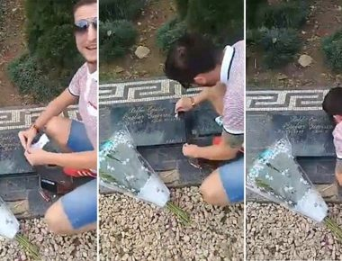 British tourist snorting 'cocaine' off Pablo Escobar's grave