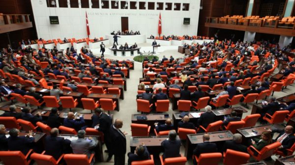 epa04864967 A general view of the Turkish Parliament during an extraordinary meeting at the Turkish parliament in Ankara, Turkey, 29 July 2015. Turkey's parliament is meeting at the behest of the opposition to discuss Ankara's strikes against the Islamic State and the Kurdistan Workers' Party (PKK).  EPA/STR