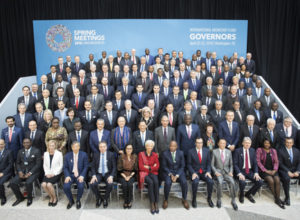The International Monetary Fund Governors pose for a group photo at the IMF Headquarters during the IMF/World Bank Spring Meetings April 21, 2018 in Washington. The meetings brought together Finance Ministers and Bank Governors from around the world. IMF Staff Phot0/Stephen Jaffe