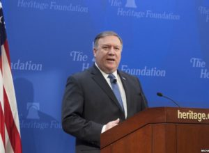 epa06754195 US Secretary of State Mike Pompeo delivers remarks on 'After the Deal - A New Iran Strategy', at the Heritage Foundation in Washington, DC, USA, 21 May 2018.  EPA-EFE/MICHAEL REYNOLDS