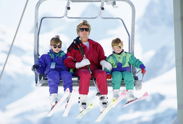 LECH, AUSTRIA - APRIL 10: The Princess Of Wales With Her Two Sons, Prince William And Prince Harry On A Chair-lift During A Ski Hloiday In Lech, Austria (Photo by Tim Graham/Getty Images)