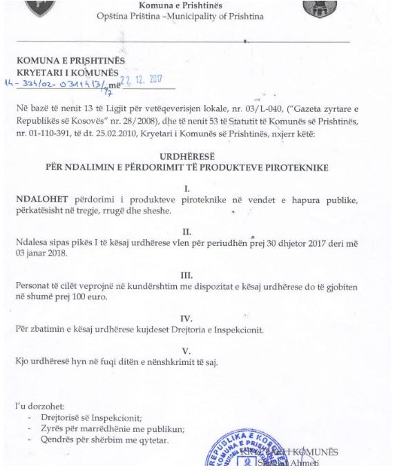komuna e Prishtines vendimi