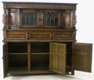 Antique Style Carved Oak Court Cupboard By Old Charm Sold [3] 960 P