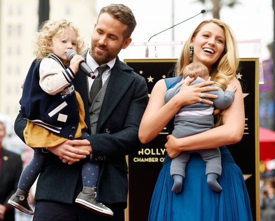 Ryan Reynolds And Blake Lively With Their Two Children At Hollywood Star Ceremony Jokes My Asshole Kids Dont Let Me Sleep