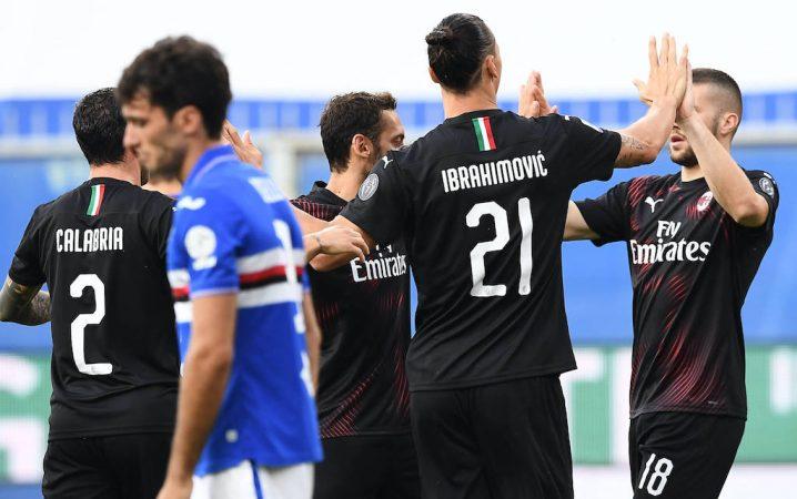 200729 Zlatan Ibrahimovic Of Ac Milan Celebrates During The Serie A Match Between Sampdoria And Milan On July 29, 2020