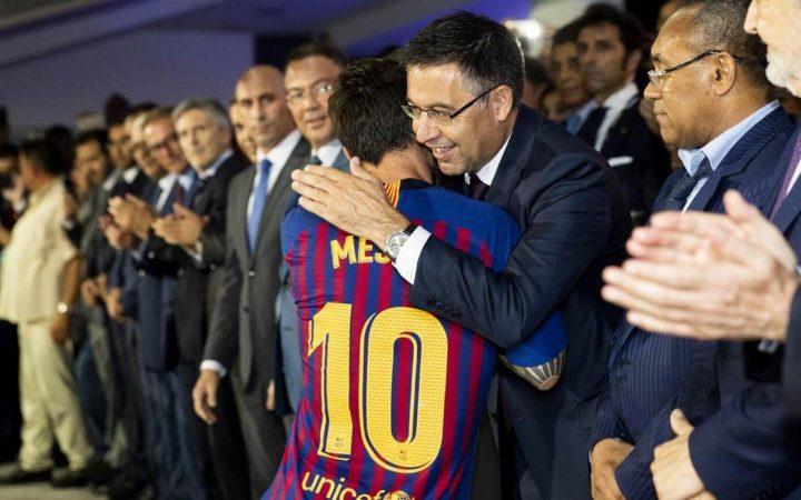 Bartomeu I Messi En Arxiu Fc Barcelona