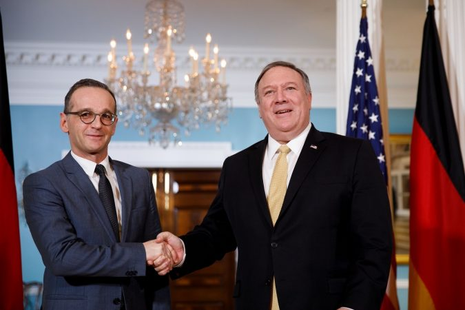 Washington, D.c., Jan. 24, 2019 (xinhua) U.s. Secretary Of State Mike Pompeo (r) Meets With German Foreign Minister Heiko Maas At The Department Of State In Washington, D.c. Jan. 23, 2019. (xinhua/ting Shen/ians)