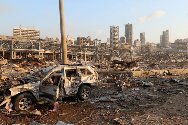 A Damaged Vehicle Is Seen At The Site Of An Explosion In Beirut