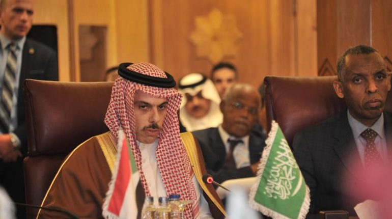 Saudi Foreign Minister Prince Faisal Bin Farhan Bin Abdullah At The Extraordinary Arab League Meeting. Spa
