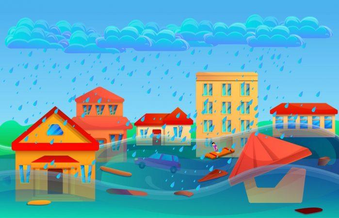 Flood Cataclysm Concept Banner, Cartoon Style