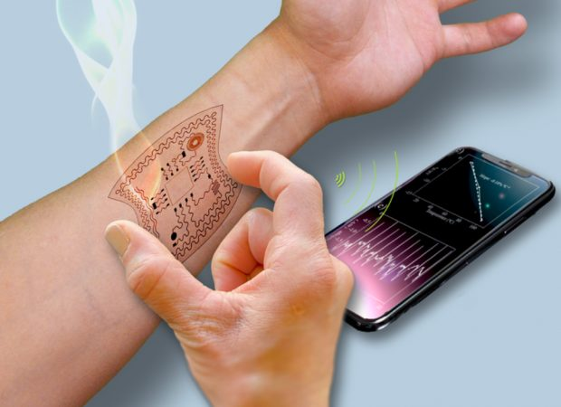 A Human Arm With An Image Of A Stretchable Sensor Placed On The Wrist