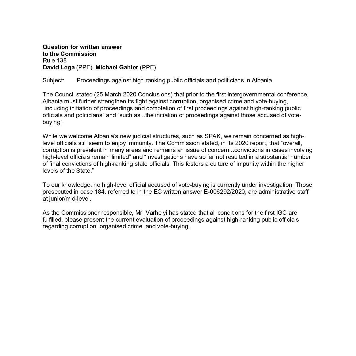 Pyetjet (1) Ndjekja penale kundër zyrtarëve të lartë