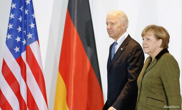 German Chancellor Merkel And U.s. Vice President Biden Arrive To Make Statement To Media In Berlin