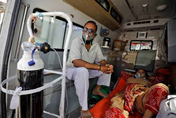 Patients With Breathing Problem Wait Inside An Ambulance To Enter A Covid 19 Hospital For Treatment, In Ahmedabad
