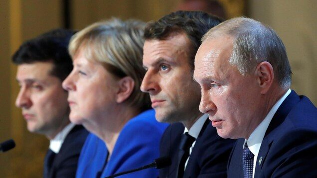 Volodymyr Zelenskiy Angela Merkel Emmanuel Macron Vladimir Poutine