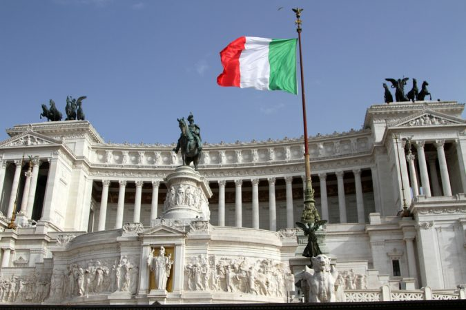 View,of,the,italian,parliament,building,in,rome,,italy.