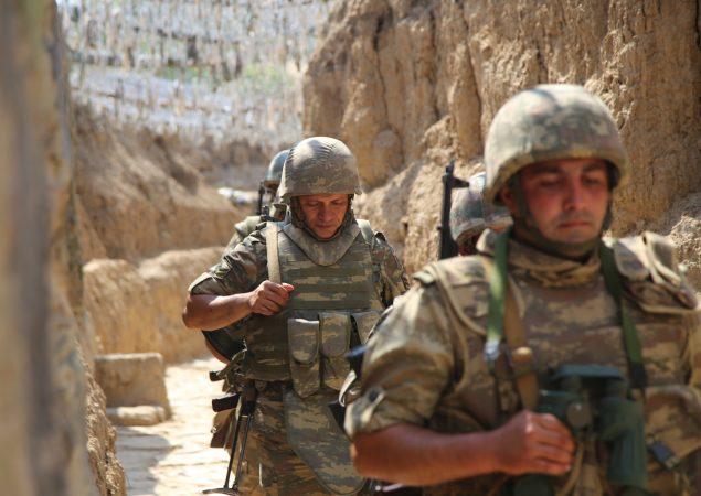 Azerbaijani Soldiers Patrol To Respond To Possible Attacks In Azerbaijan's Tovuz