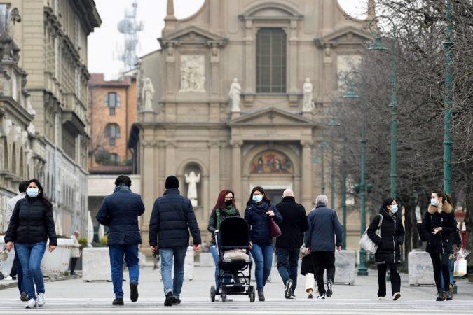 File Photo: People Walking In A Street In Bergamo